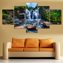 Wholesale canvas painting numbers - 5 Pcs Waterfall Painting Modern Home Decor Canvas Art Pictures Painting On The Wall Print Painting By Numbers Gift
