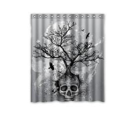 Rideau de douche en tissu noir en Ligne-Douane 36/48/60/66/72/80 (W) x 72 (H) pouces Rideau de douche Arbre de crâne Rideau de douche en tissu polyester noir Eagle