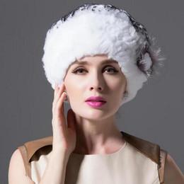 Wholesale Genuine Fox Fur Hat - Wholesale-2016 New Knitted Genuine REX Rabbit Fur Hat Beret Style Silvery Fox Fur Flower Decorative Headdress Head Warmer Women