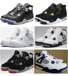 Wholesale Thunder 4s - High Quality 4 Royalty Game Royal Fear Pack Men Basketball Shoes 4s Fire Red Thunder Military Blue Motosports Sneakers With Box
