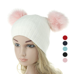 Wholesale fox hats - Baby Knitted Hats Two Fox Fur Balls Caps For Baby Girls Boys Winter Children Earmuffs Hats Caps