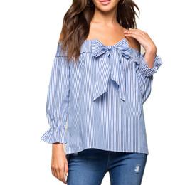 Wholesale Black Linen Blouse - Sexy Off Shoulder Blouse 2017 Summer Women Bow Slash Neck Long Sleeve Blue Vertical Striped Shirt Blusas Casual Tops Plus Size