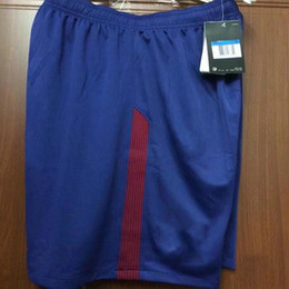 Wholesale drawstring top - soccer shorts 17 18 blue red top thai AAA quality custom number football shorts soccer uniforms soccer clothing pants