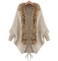 Wholesale Bat Woman Cape - 2018 Autumn Winter Women Cardigans Sweater Shawls Big Wraps Bat Sleeve Knit Cardigan Fur Shawl Collar Sweater Poncho Cape Coat