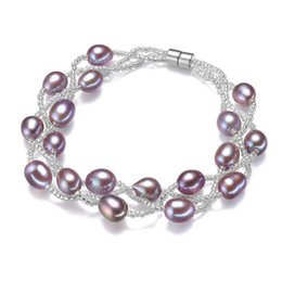 Wholesale Magnets 8mm - 7-8mm Purple Natural Pearl Bracelet Charm Luxury Wedding Gift Fashion Freshwater Rice Magnet Buckle Bangle Bracelets For Women Jewelry 2017