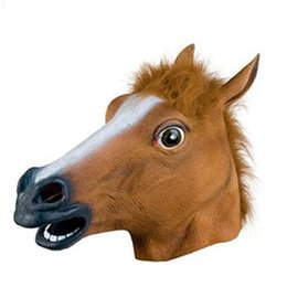 Wholesale Fast Shipping Costumes - 2017 New Creepy Horse Mask Head Halloween Costume Theater Prop Novelty Latex Rubber Fast free shipping 150pcs