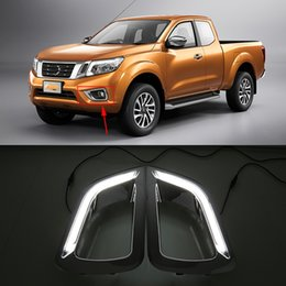 Wholesale Nissan Car Fog Lamp - Car Flashing LED Daytime Running Light for Nissan Navara NP300 2015 2016 drl chrome fog lamp cover driving lights car styling