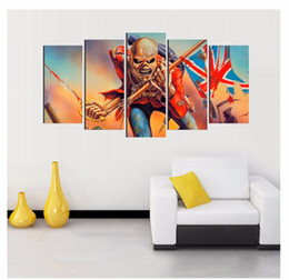 Wholesale Funny Pictures Frames - 5 Panels Funny Human UK Modern Abstract Canvas Oil Painting Print Wall Art Decor for Living Room Home Decoration Framed Unframed