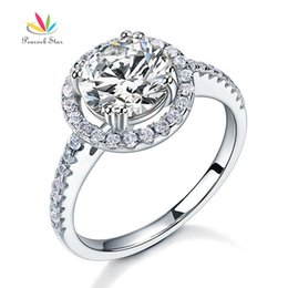 Wholesale Diamond Halo Wedding Ring - Peacock Star Solid 925 Sterling Silver Wedding Anniversary Engagement Halo Ring 2 Created Diamond Wedding Jewelry CFR8199