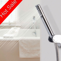Wholesale Flexible Steel Hose - Metal Brass Handheld Modern Round Bar Hand shower w 1.5m Flexible Stainless Steel hose Single Function Chrome Finish
