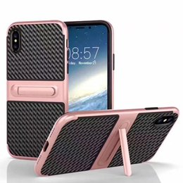 Wholesale Lanyard Plastic Case - Heavy Duty Hybird Armor Hard TPU Cover PC Hard Case For Iphone X 8 7 Plus Samsung Note 8 S8 Plus With Lanyard Hole OPPBAG