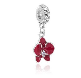 Wholesale Orchid Jewelry Wholesale - Fits Pandora Bracelets 10pcs Crystal Orchid Flower Enamel Charm Bead Loose Beads For Wholesale Diy European Sterling Necklace Women Jewelry