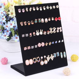Wholesale wooden stand decoration - Fashion L Shaped Earring Stand Ear Stud Holder Earrings Shelf Jewelry Stand Rack Earring Decoration For Women Lady Girl