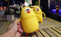 Wholesale Thermos Kids Water Bottle - Cute Cartoon Mug Yellow Chicken Vacuum Cup Kids Water Milk Thermos Bottle With Straw And Handle