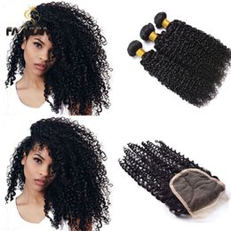 Wholesale Tightest Curl Human Hair - Indian curly virgin hair kinky curly human hair bundles with closure fashijia tight curl 3 bundles with closure jerry curly virgin hair
