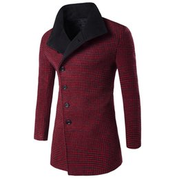 Wholesale Men Long Trench Coat Patterns - Wholesale- 2016 Winter Trench Coat Men Big Collar Outerwear Swallow Gird Pattern Casual Coat Men's Jacket Windbreaker Men Trench Coat