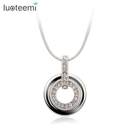 Wholesale Double Loop Chains - Wholesale- LUOTEEMI Fashion Double Loop Rhinestone Pendant Necklace Charm Jewelry Gift for Women White Gold Color Factory Wholesale
