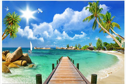 Murales del océano online-Papel tapiz 3d Foto personalizada Pared no tejida Ocean Beach Puente de madera decoración de la habitación pintura imagen 3d muals papel de pared para paredes 3 d