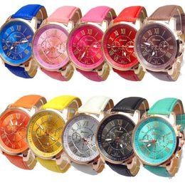 Wholesale Roman Leather Bracelet - Unisex Luxury Watches Geneva Silicone Roman Numerals Watch Leather Bracelet Quartz Watch Fashion Unisex Sports Cystal Watch CCA6988 100pcs