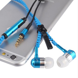 Wholesale Metal Headbands Ears - Stereo 3.5mm Jack Bass Earbuds Earphones braided handsfree in ear Metal with Mic Earbuds Zip Zipper for iPhone Samsung MP3 DHL Free