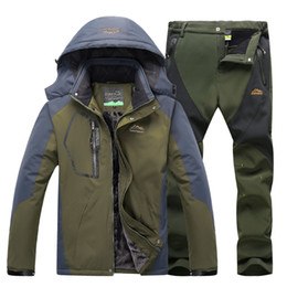 Wholesale Windbreaker Jacket Pants - Winter Thermal Ski Jacket suits Men Waterproof Fleece Windbreaker jacket Outdoor Hiking Skiing Snowboard Coat + pant 2pcs Tracksuits