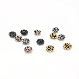 Wholesale Round Brass Metal Beads - 8mm HOT Metal CZ Brass Micro Pave Cubic Zirconia Round Disco Ball Loose Jewelry Bracelet Necklace DIY Beads, Hole: 1.8mm