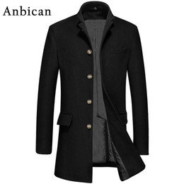 Wholesale Standing Collar Peacoat - Wholesale- Anbican 2016 Man Coats Brand Wool Blends Single Breasted Winter Wool Overcoat Men Stand Collar Slim Long Peacoat Plus Size XXXL