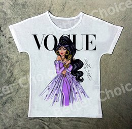 Wholesale girls princess tee shirts - Track Ship+New Vintage Retro T-shirt Top Tee Cartoon Purple Arab Princess Girl Lady Black Hair Make Up 1460
