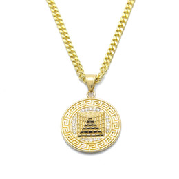 Wholesale Pyramid Chains - Hip Hop Gold Egyptian Pyramid Pendant Charm Necklace Iced Out Gold Plated Stainless Steel Necklace Chain Women Men Hip hop Jewelry