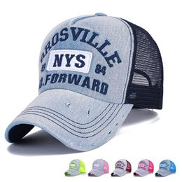 Wholesale Trucker Hat Embroidery - Wholesale- Wholesale Adults Casual Trucker Hats Women and Men Summer Letter Embroidery Denim Mesh Baseball Caps Bone Casquette