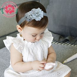 Wholesale Hair Stain - Wholesale- 12pcs lot Newborn Stain Rose Pearl Chiffon Flower Rhinestone Headband Hair Accessories Infant Children Baby Girls Headband 609