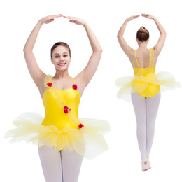 Wholesale Women Flower Tutu - Nylon Lycra and Soft Tulle Camisole Ballet Dance Leotard Tutu with Flowers cross the Front for Performance for Ladies and Girls Full Sizes