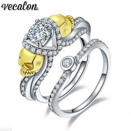 Wholesale Skull Rings 925 Silver - Vecalon Women Gold Skull Jewelry 2ct AAAAA Zircon Cz 925 Sterling silver Wedding Band Ring Set for Women Female Finger ring