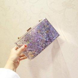 Wholesale Powder Clutch - Factory custom brand package, summer crystal clear woman chain bag, personality flash powder, liquid acrylic Dinner Bag, 6 colors