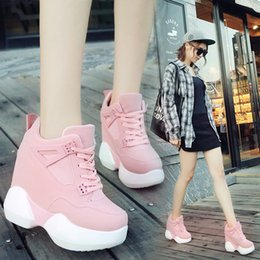 Wholesale Sneakers Boots Platform Heels - Womens Platform Wedge Lace Up Trainer Boots Casual Sports Muffin Sneakers Hidden Heel 12CM Shoes 6Colors Loafers LP14603