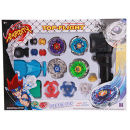 Wholesale Beyblade Metal Masters Sets - Beyblade Metal Spinning Beyblade Sets Fusion 4d 4 Gyro Box Fight Master Beyblade String Launcher Grip For Sale Kids Toys Gifts