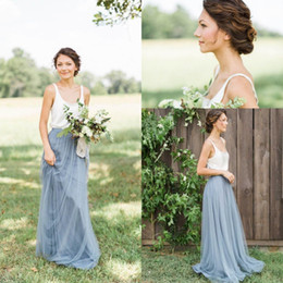 Wholesale Western Wedding Bridesmaid Dresses - 2017 Modest Tulle Long Bridesmaid Dresses Bohemia Scoop Neck Floor Length Western Country Wedding Party Gowns Summer Cheap