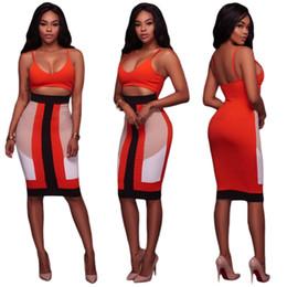 Wholesale Bodycon Dresses Multi Color - Woman Fashion Slim Multi Color Splicing Deep V Harness Dress 2017 Summer Woman Sexy Nightclub Exposed Navel Bodycon Dress