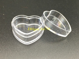 Wholesale Mini Plastic Containers Lids - 500pcs lot Heart Shape 4g Clear Plastic Sample Containers Mini PS Jar With Lid Empty Cosmetic Packaging Pot Box