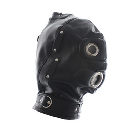 Wholesale Open Leather Gag - Superior PU Leather Bondage Hood Fetish Open Mouth Gag Black Mask Sex Slave Bondage Restraints Erotic Games Sex Toys for Couples