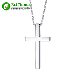 polished stainless necklace cross Promo Codes - BC Beichong Wholesale Customized High polished Jewelry Four Color Cross Stainless S Pendant Necklaces Charm Jewelry