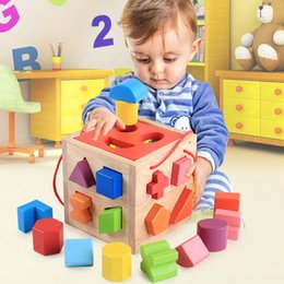 Wholesale Wood Match Box - Learning knowledge classification box shape puzzle matching cognitive AIDS children's intelligence toys gifts Development of children wooden