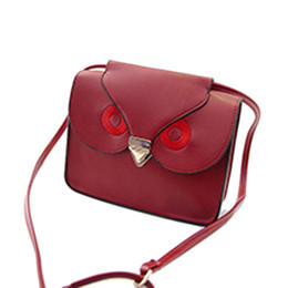 Wholesale Cheap Women Satchels Bags - Wholesale-Brand new Leather Shoulder Bag 2015 cheap Owl Print Satchel Messenger women Handbag Cross Body Purse bags Black Brown Red