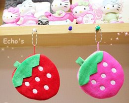 Wholesale Strawberry Coin - Wholesale- Super Cute 2Colors - Strawberry Fuit 11CM Lady Girl's Pocket Coin BAG Wallet Pouch , Mini Hand Key Pouch Wallet BAG