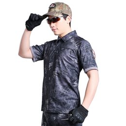 Wholesale Military Uniform Camo - Summer Camouflage Outdoors Coolmax T Shirt Men Army Combat Military Uniform Tactical T-Shirt Quick Dry Camo Hunt Clothing Tees