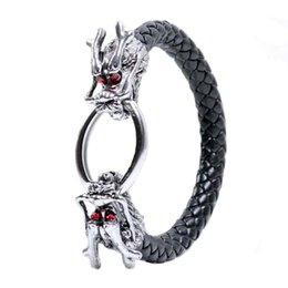 Wholesale chinese bangles - Ancient Silver Red Eye Chinese Dragon Bracelet Weave Leather Bangle cuff for Men Punk Jewelry Drop Ship 161977
