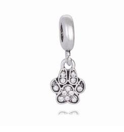 Wholesale paw charm blue - Wholesale 30pcs Paw Print Trace Silver Plated Charm Beads Pendant Fit European Pandora Charms Sterling Bracelet & Necklace Jewelry Women
