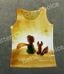 Wholesale Vintage Friends Watch - Track Ship+Vintage Vest Tanks Tank Tops Camis Fairy Tale Little Prince Friend Fox Sit on Planet to Watch Sunrise Stars 0993