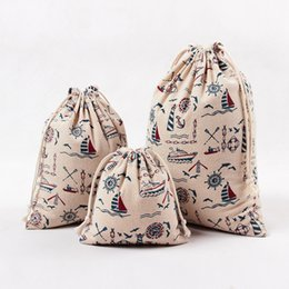 Wholesale Man View - Jute Canvas Drawstring Totes For Women Men Pop Style Simple Personality Sailing Sea View Printing Bag Wholesale Freeshipping