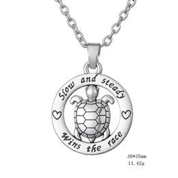 "Wholesale Turtle Cute - Circle ""Slow and Steady Wins The Race"" Inspirational Word Cute Turtle animal silver Color Tortoise Circle Affirmation Pendant Necklace"